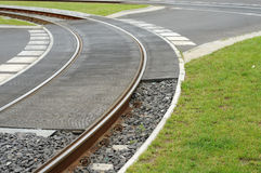 Trolley track, junction. Image of trolley track, hard steel Royalty Free Stock Images