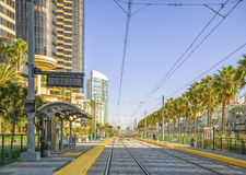 Trolley Tracks, Downtown San Diego, California Stock Photo