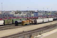 Trolley and train yard San Diego California Royalty Free Stock Photo