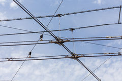 Trolley trolleybus electricity cable lines Royalty Free Stock Photography