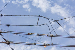 Trolley trolleybus electricity cable lines Stock Photo