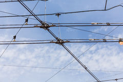 Trolley trolleybus electricity cable lines Royalty Free Stock Images