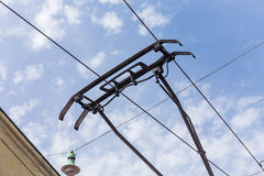 Trolley trolleybus electricity cable lines Royalty Free Stock Photos