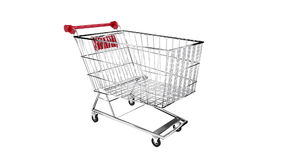 Trolley turning on white background with alpha channel stock video footage