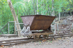 Trolley used in the construction of railways World War II Stock Image