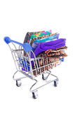 Trolley with various fabric Stock Photos