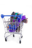 Trolley with various fabric Stock Photography