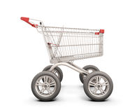 Trolley with wheels from the car on a white. Trolley with wheels from the car. The concept of discounts in shops. 3d illustration Royalty Free Stock Images