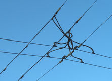 Trolley wire. Suspension of electric cables under tension, for electrical transport Royalty Free Stock Images