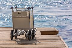 Trolley on wood pier Royalty Free Stock Photo