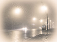 Trolleybus in the fog. Last night route Stock Photos