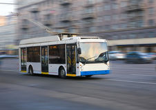 Trolleybus going in the city Stock Photography