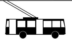 Trolleybus icon. Black-white Trolleybus and transport icon Stock Image