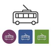 Trolleybus line icon. Trolleybus line  icon in different variants vector illustration