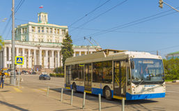 Trolleybus in Moscow streets. trackless trolley. Trolleybus in Moscow. trackless trolley Stock Images