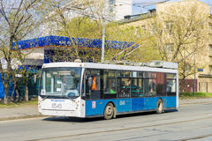 Trolleybus in Moscow streets. trackless trolley. Trolleybus in Moscow. trackless trolley Royalty Free Stock Image