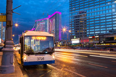 Trolleybus on New Arbat Street in evening. Moscow. Russia. MOSCOW, RUSSIA - AUGUST 23, 2014: Trolleybus on New Arbat Street in evening. New Arbat is located in Royalty Free Stock Images