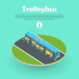 Trolleybus on Part of Road Web Banner. Flat 3d Royalty Free Stock Photography