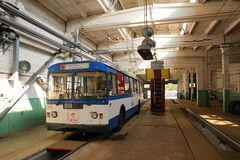 Trolleybus standing in trolleybus depot Royalty Free Stock Image