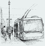 Trolleybus stop Royalty Free Stock Image