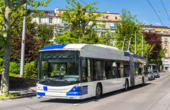 Trolleybus on a street of Lausanne Stock Photography