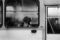 Trolleybus window Stock Photo