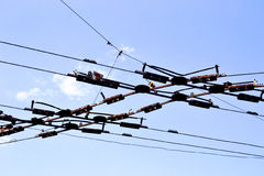 Trolleybus wire against the sky Royalty Free Stock Photo