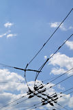 Trolleybus wire in summer day Royalty Free Stock Photography