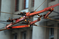 Trolleybus wire switch Royalty Free Stock Image