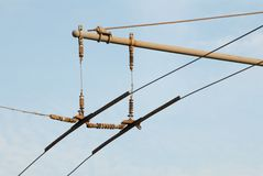 Trolleybus wires Stock Photos