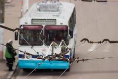 Trolleybusdraden, hoogste meningsbeeld Royalty-vrije Stock Foto