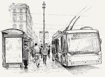 Trolleybuseinde in de grote stad Stock Afbeeldingen