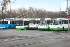 Trolleybuses row Royalty Free Stock Photos