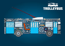 Trolleybuspictogram van gedetailleerde belangrijkste onderdelen Royalty-vrije Stock Afbeelding