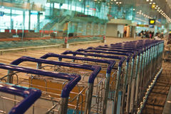 Trolleys in airport Royalty Free Stock Images