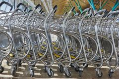 Trolleys at airport railway bus station. Travel background Stock Photo