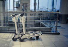 Trolleys in airport Stock Photo