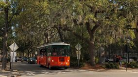 Trolleys Carrying Tourists on Streets of Savannah Georgia. SAVANNAH, GA - Circa February, 2018 - Colorful trolleys carry tourists on the historic, tree-lined stock footage