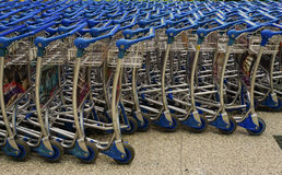 Trolleys at Changi airport in Singapore Royalty Free Stock Image