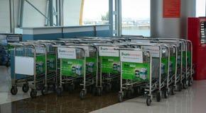 Trolleys at Lien Khang airport in Dalat, Vietnam Stock Image