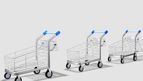 Trolleys in motion. Concept of consumer society. Animation of Trolleys in motion in a white background. Concept of consumer society stock video footage