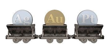 Trolleys with signs of noble metals. 3d rendering stock illustration