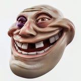 Trollface beaten. Internet troll 3d illustration. Internet troll head with bruise 3d illustration Stock Photo