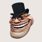 Trollface dark spectacled, in hat. Internet troll 3d illustration Royalty Free Stock Photos