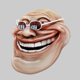 Trollface dark spectacled. Internet troll 3d illustration. Laughing internet troll spectacled 3d illustration isolated Stock Images