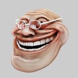 Trollface de óculos Ilustração da pesca à corrica 3d do Internet Imagens de Stock
