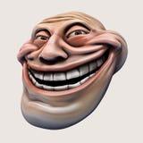 Trollface. Internet troll 3d illustration. Laughing internet troll head 3d illustration isolated Stock Image