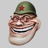 Trollface no capacete do russo Ilustração da pesca à corrica 3d do Internet Fotos de Stock Royalty Free