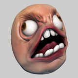 Trollface Rage. Internet meme 3d illustration Royalty Free Stock Photos