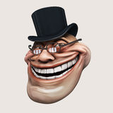 Trollface spectacled, in hat. Internet troll 3d illustration. Laughing internet troll spectacled 3d illustration isolated Stock Photography